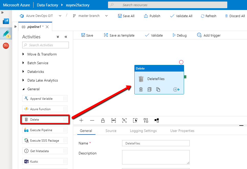 Clean up files by built-in delete activity in Azure Data