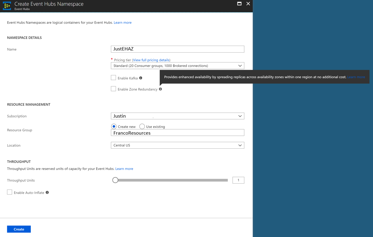 Enable Availability Zones on your Event Hubs in the Azure portal