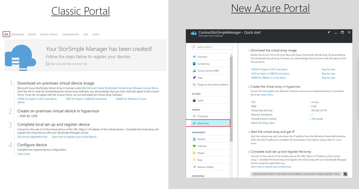Azure StorSimple Device Manager Quick start blade