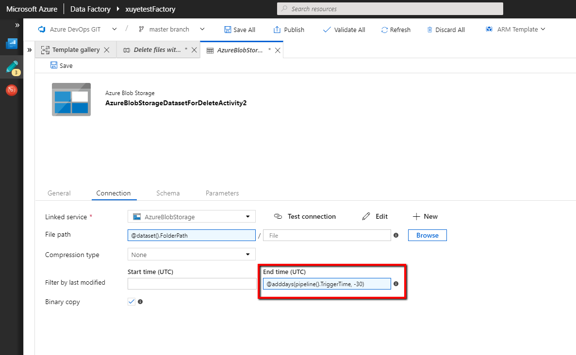 Clean up files by built-in delete activity in Azure Data Factory