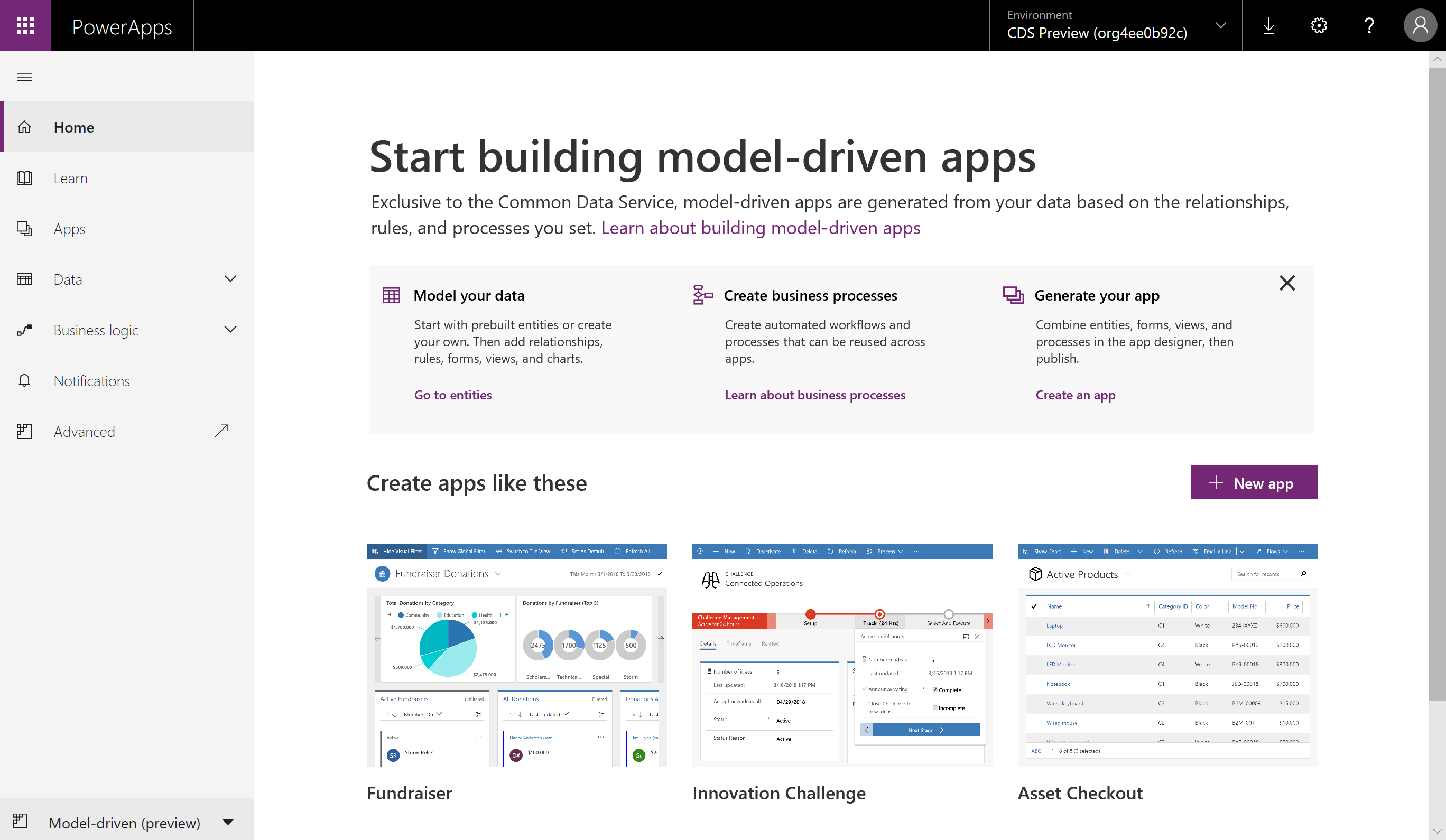 Introducing model-driven apps – a new way to create