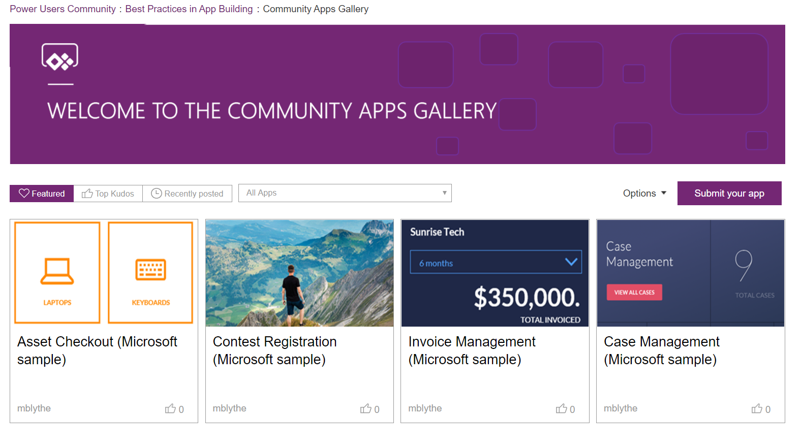 new best practices community forums and app gallery