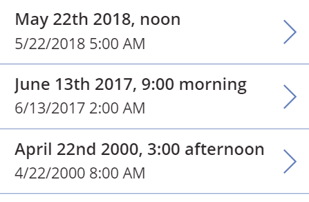 Gallery displaying datetime values