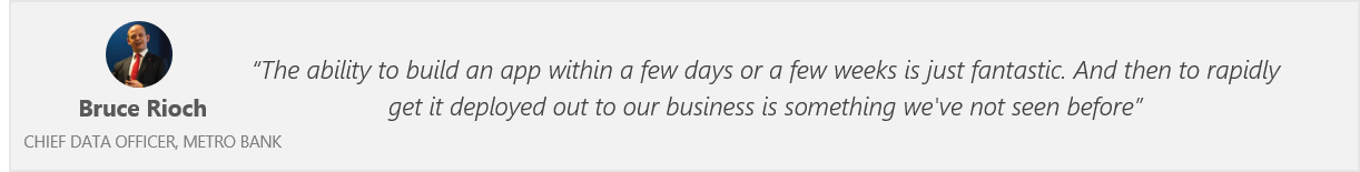 Quote from Bruce Rioch, Chief Data Officer, Metro Bank