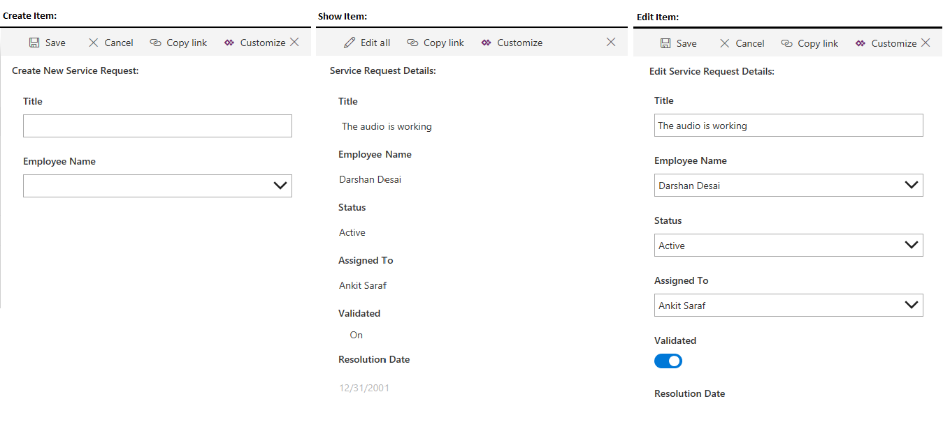sharepoint custom forms build separate forms to create show or