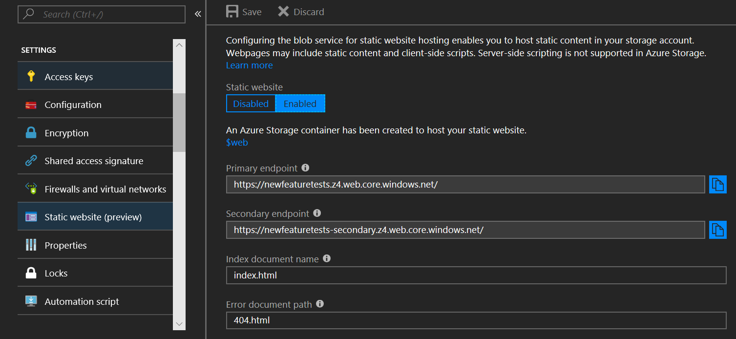 Static website hosting for Azure Storage now in public preview